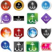 Boat Anchor web icon — Stock Vector