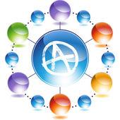 Anarchy icon button — Stock Vector