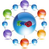 Botón web etapas clave — Vector de stock
