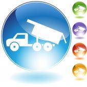 Dump Truck Crystal Icon — Stock Vector