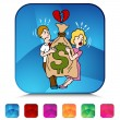 Couple Fighting Over Money Mosaic Crystal Button Set — Stock Vector #64202075