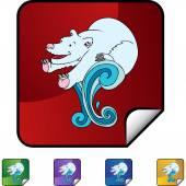 Lední medvěd web tlačítko — Stock vektor