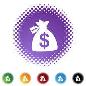 Zamknięty worek pieniędzy tkanina ikona — Wektor stockowy