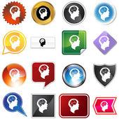 Brain Head Variety Set — Stock Vector