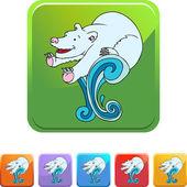 Polar Bear web button — Stockvektor