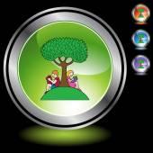 Boy and girl reading under the tree — Stok Vektör