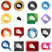 Cheese wedge icon set — Stock Vector