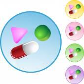 Pills web button — Stockvector
