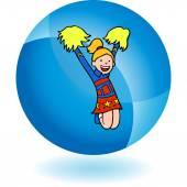 Cheerleader web button — Vecteur