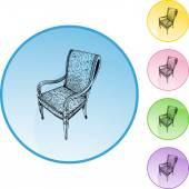 Chair web button — Stock Vector