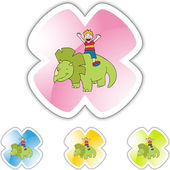 Triceratops and boy web icon — Stock Vector