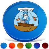 Working In A Fish Bowl Gemstone Button Set — Stock Vector
