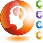 Brain icon web button — Stockvector