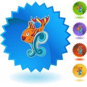Goldfish  icon button — Vetor de Stock