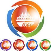 Cruise ship web button — Stock Vector