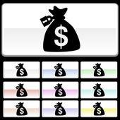 Locked Money Bag web icon — Stock Vector