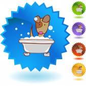 Puppy in Bath web button — Stock Vector