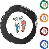 Eskimo icon button — Stock Vector