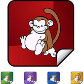 Monkey web button — Stock Vector