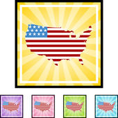America flag map icon — Stock Vector