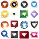 Diamond jewel variety icon set — Stock Vector #64211783