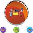 Kids during Yard Sale icon button — Stock Vector #64212969