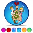 Couple Fighting Over Money Mosaic Crystal Button Set — Stock Vector #64219779