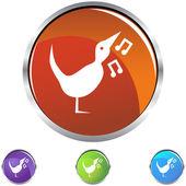 Singing Bird icon button — Stok Vektör