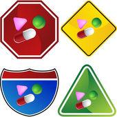 Pills web button — Stock Vector
