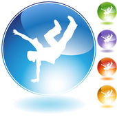 Breakdancer Kick Crystal Icon — Stock Vector