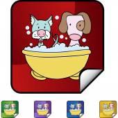 Puppy Bath web icon — ストックベクタ