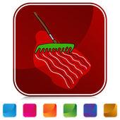 Raking Soil Button Set — Stock Vector