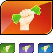 Money Grab web icon — Stock Vector