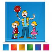 Crossing Guard and Children Walking Button Set — Stockvektor