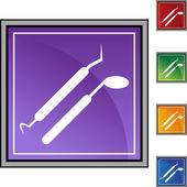 Стоматологические инструменты веб-кнопка — Cтоковый вектор