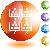 CMYK Printing button — Stock Vector