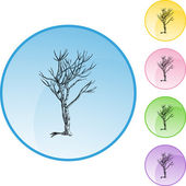 Bare Tree web button — Stock Vector