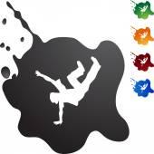 Break Dancer web button — Stock Vector
