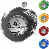 Przycisk web moneta pieniądze — Wektor stockowy