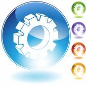 Cog crystal icon — Stock Vector