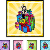 Woman with Gifts icon — Stock vektor