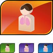 Легких пациента web значок — Cтоковый вектор