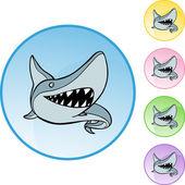 Shark web button — Vetor de Stock