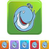 Whale web button — Stock Vector