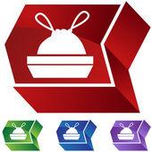 Trash Bag icon button — Stock vektor