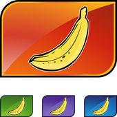 Banana icon button — Stock vektor