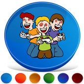 Video Game Addicted Kids Gemstone Button Set — Stock Vector