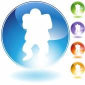 Linebacker Football Crystal Icon — Stock Vector