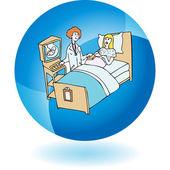 Pregnant woman having ultrasound procedure — Stock Vector
