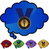 Icône du web médaille dorée — Vecteur
